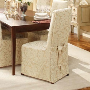 SureFit Scroll Full Dining Room Chair Cover, Champagne