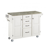 Home Styles 2-Cabinet Door Create-a-Cart with Concrete Top, White/Grey