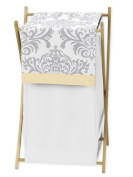 Baby/Kids Clothes Laundry Hamper for Yellow, Grey and White Damask Print Avery Bedding Collection