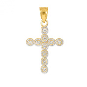 10k Yellow Gold Circle Eternity Diamond Cross Bracelet Charm