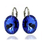 """Sterling Silver 2350cm. Crystals"""" Royal Blue Lever Back Earrings for Women"""