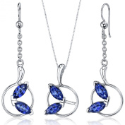 Created Sapphire Pendant Earrings Necklace Sterling Silver Rhodium Nickel Finish Marquise Shape