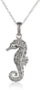 Sterling Silver. White Crystal Seahorse Pendant Necklace, 46cm