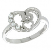 Sterling Silver Quinceanera 15 Anos Heart Ring CZ stones Rhodium Finished, 1.1cm wide, sizes 5 - 8