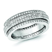 Sterling Silver Polished Rhodium-plated Pave Eternity Motion Ring