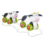 Orange Tree Toys - Wooden Cow and Baby pull along