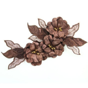 Beads4crafts 1 Brown Applique Sew On Embellishment With Crystals Dressmakin 285X140Mm Hl1042