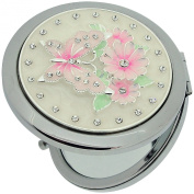 Sophia Silver Plated Round Compact Mirror With Butterfly & Flower Design Set With Crystals SC889