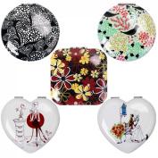 BMC Womens 5 pc Mixed Design Heart Flower Alloy Metal Folding Compact Travel Pocket Beauty Makeup Mirror Set