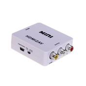 Goliton® Mini HDMI2AV Converter 1080P HDMI to Composite 3RCA AV CVBS S-Video adapter for PC VHS VCR DVD TV PS3 PS4 XBOX - White