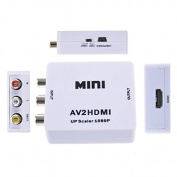Goliton® Mini Composite AV CVBS 3RCA to HDMI Video AV2HDMI Converter Adapter 720p 1080p Upscaler with USB power supply - White
