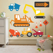 Construction Diggers & Trucks Removable and Repositionable Wall Stickers Décor Decal Art