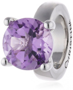 Endless Women's Bead 925 Silver Amethyst Round Dome with Purple Zirconia - 41158-1