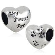 1 x My Sweet Pet & Paw Prints Heart - Sterling Silver Charm Bead - Spanglebead