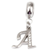 A - Crystal Letter Dangle - Sterling Silver Charm Bead - Spanglebead