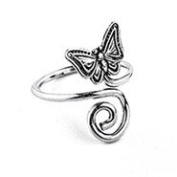 Sterling Silver 925 Adjustable Spiral And Butterfly Toe Ring