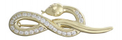 Hobra GOLD Snake Brooch 14 K GOLD 585 GOLD with Zirconia-Goldbrosche