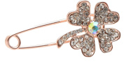 Rose Gold Plated Four Leaved Clover Brooch Safety Pin with Sparkly Crystals (In Organza Pouch).