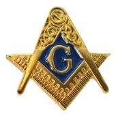 NEW MASONIC FREEMASON SQUARE & COMPASS CREST & G GOLD ENAMEL LAPEL PIN BADGE