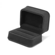 Velvet Couple Ring Storage Case Gift Box Dark Grey