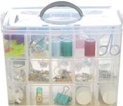 Ardisle Clear Large 3 Floors Plastic Craft Beads Jewellery Storage Organiser Compartment Tool Box Case