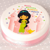 "Princess And Palace Princess Cake Topper 7.5"" (19cm) Round Choose From Edible Icing Or Edible Wafer"