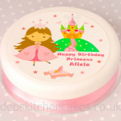 "Princess Cake Topper 7.5"" (19cm) Round Choose From Edible Icing Or Edible Wafer"