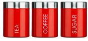 Kabalo Red Set of 3 Tea Coffee & Sugar Canisters Kitchen Storage Containers Jars Pots