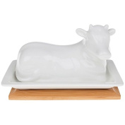 Cow Butter Dish - White Bamboo