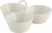 Creative Tops Olio Doliva Embossed Stoneware Dip and Chip Triple Bowl