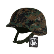 Pixel green camouflage cover with the U.S. military Fritz type helmet M88