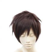 SuperWigy. Attack on Titan Eren Jaeger Style Short Dark Brown Hair Anime Cosplay Wig+Wig Cap