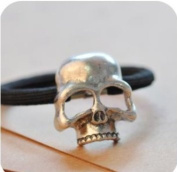 kathy Store INC 1pc Sliver Stereoscopic Metallic Skull Ponytail Gothic Punk Hair Ring Tie Holder Band