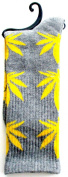 Weed Socks Marijuana Design Grey with Yellow Leaves