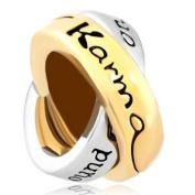 Charm Silver Gold Karma Love European Bead fits Pandora Bracelets