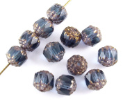 Faceted Czech Crown Cathedral Beads-MONTANA BLUE 8mm