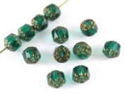 Faceted Czech Crown Cathedral Beads-TEAL GREEN 8mm