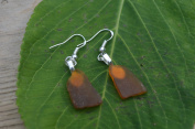 Small Amber Brown Sea Glass Sterling Silver French Hook Earrings