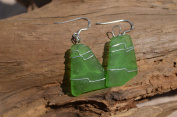 Light Green Sea Glass Dangling Sterling Silver Earrings