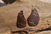 Cocoa Brown Sea Glass Dangling Sterling Silver Earrings