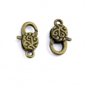 5 Pieces Jewellery Making Findings Antique Bronze Charms FL1132 Lucky Lobster Clasps Craft Lots Repair Supplies