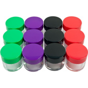 12 Piece Clear Jars with Coloured Lids/20 ML