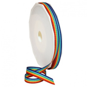 Morex Ribbon Grosgrain Stripes Ribbon, 1.6cm by 20 yd., Rainbow