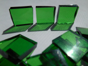 FortySevenGems 100 Pieces Stained Glass Mosaic Tiles 1.3cm Green Cathedral Glass