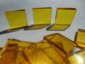 FortySevenGems 100 Pieces Stained Glass Mosaic Tiles 1.3cm Yellow Cathedral Glass