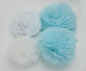 Worldoor® 12PCS Mixed Sizes White Aqua Blue Tissue Paper Pom Poms Wedding Garland Pompoms Birthday Party Baby Room Decoration