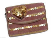 Juicy Couture Pink Damsel Sm Wallet Front Flap Gold Sequins