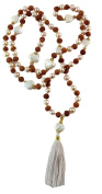 Mala Rudraksha Freshwater Pearl 108 Beads with 22k Goldplated Sterling Silver Beads