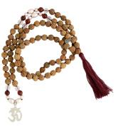 Freshwater Pearl Rudraksha Mala 108 Beads Sterling Silver Om Symbol Pendant 7mm
