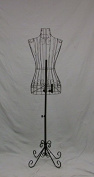 """Female Black Steel Wire Mannequin Dress Form 32""""22""""32"""" on Decorative Stand"""